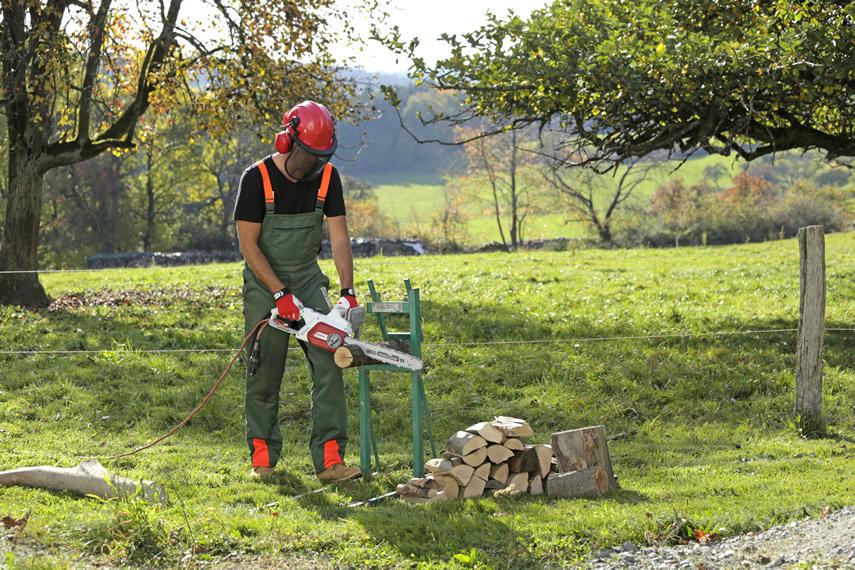 Holz schneiden mit IKRA E-Kettensäge IECS 2240 TF