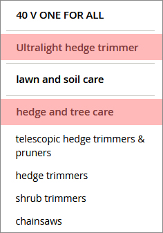 Ordering a hedgetrimmer in navigation